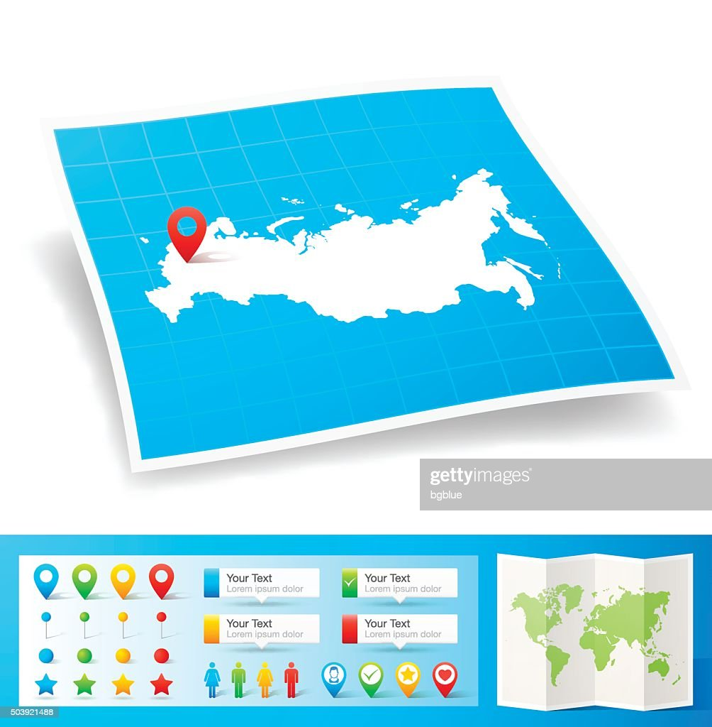 Russia Map with location pins isolated on white Background
