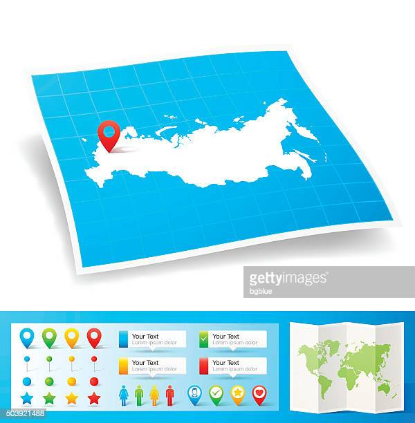 russia map with location pins isolated on white background - country geographic area stock illustrations, clip art, cartoons, & icons