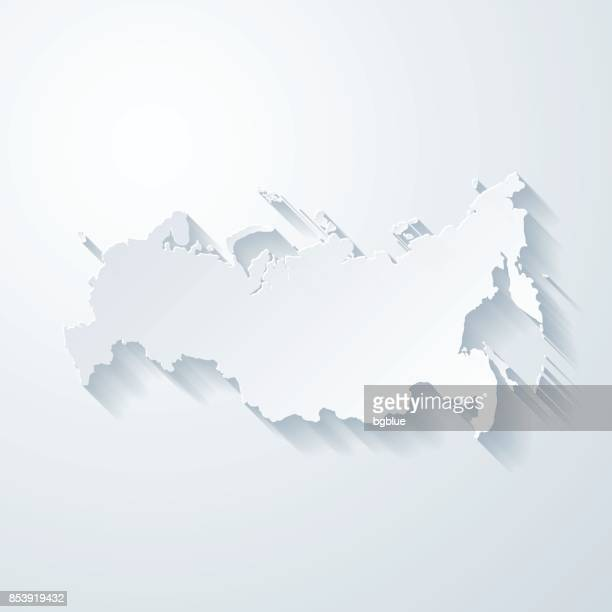 Russia map with paper cut effect on blank background