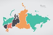 Russia Map with states and modern round shapes