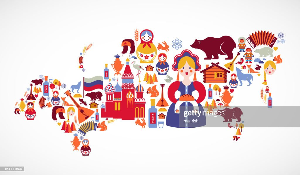 Russia map with vector icons