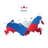 Russia map with waving flag. Vector illustration.