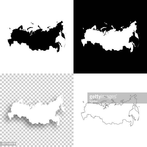 russia maps for design - blank, white and black backgrounds - russia stock illustrations
