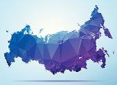 Russia Polygon Triangle Map Blue