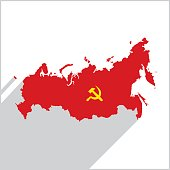 Russia red Map Icon