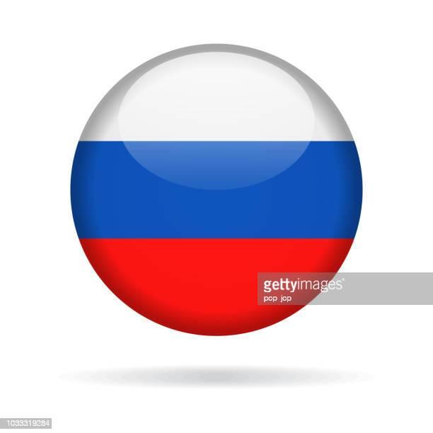 stockillustraties, clipart, cartoons en iconen met rusland - ronde vlagpictogram vector glanzend - russia