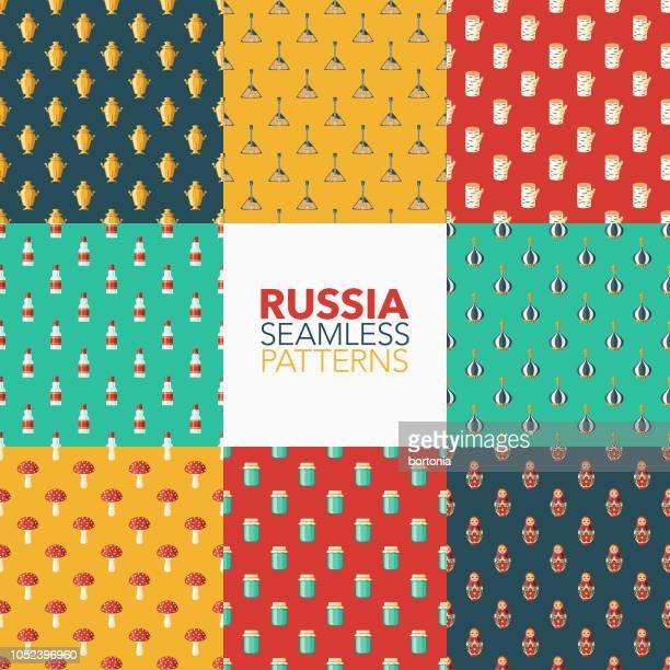 russia seamless pattern set - vodka stock illustrations, clip art, cartoons, & icons