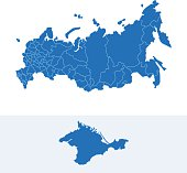 Russia simple blue map on white background