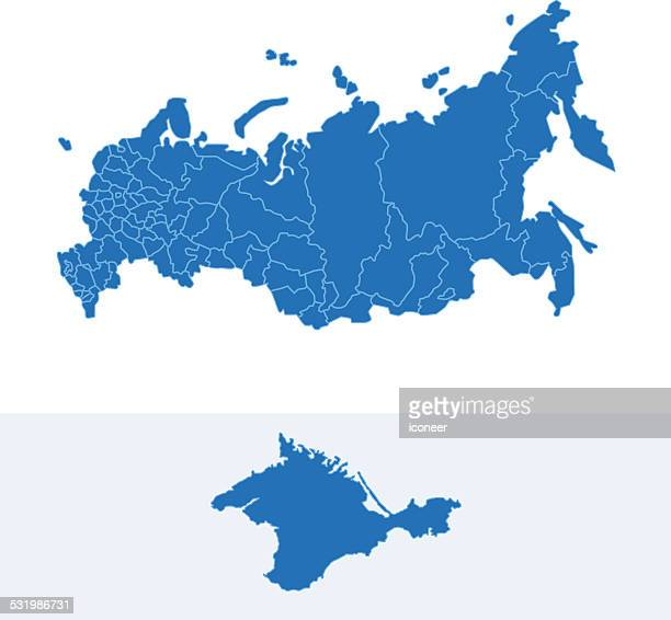 russia simple blue map on white background - crimea stock illustrations