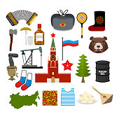 Russia symbol set. Russian national character. State Traditional