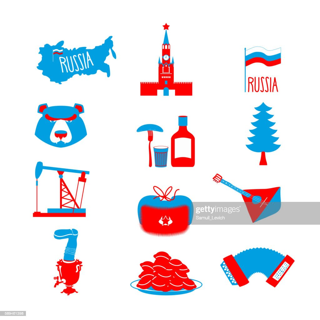Russia Symbol Set Russian National Character State Traditional