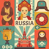 Russia travel poster concept.