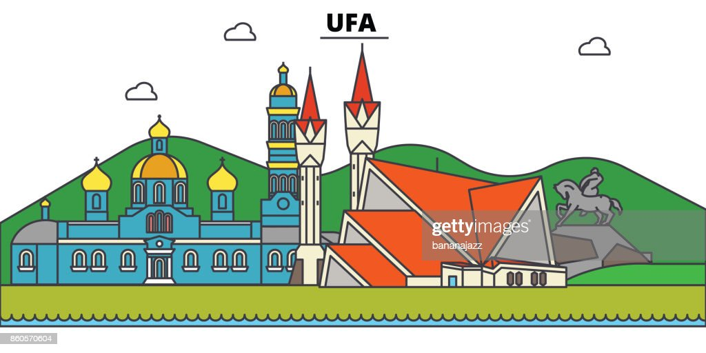 Russia, Ufa. City skyline, architecture, buildings, streets, silhouette, landscape, panorama, landmarks. Editable strokes. Flat design line vector illustration concept. Isolated icons set