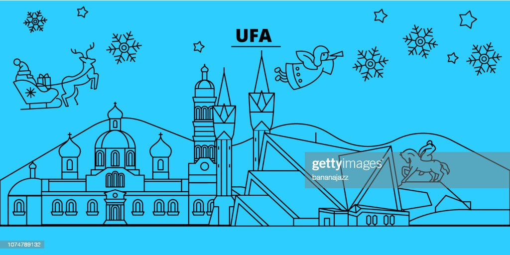 Russia, Ufa winter holidays skyline. Merry Christmas, Happy New Year decorated banner with Santa Claus.Russia, Ufa linear christmas city vector flat illustration
