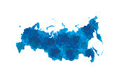 Russia watercolor map vector illustration in blue color on white background using ink spray on paper