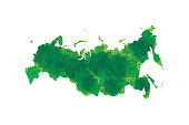 Russia watercolor map vector illustration in dark green color on white background using ink spray on paper