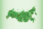 Russia watercolor map vector illustration in green color on light background using ink spray on paper