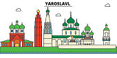 Russia, Yaroslavl. City skyline, architecture, buildings, streets, silhouette, landscape, panorama, landmarks. Editable strokes. Flat design line vector illustration concept. Isolated icons set