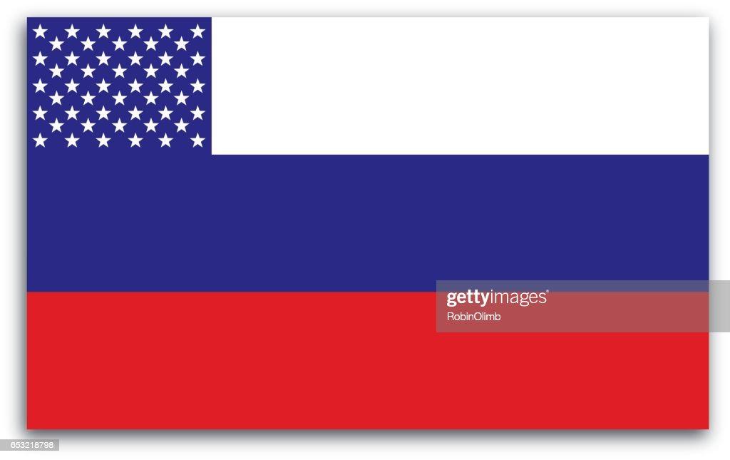 Russian American Flag : Vector Art