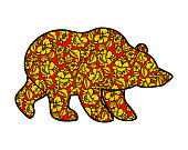 Russian Bear hohloma style. National Folk painting of flowers. W