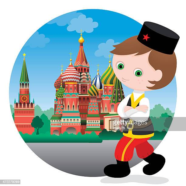 russian boy at st. basil's cathedral - red square stock illustrations, clip art, cartoons, & icons