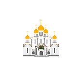 Russian Cathedral Church flat illustration