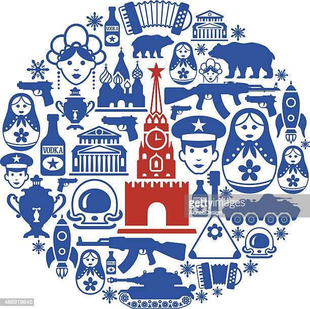 ilustrações, clipart, desenhos animados e ícones de colagem russo - moscou