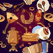 Russian cuisine seamless pattern, pancakes, samovar, balalaika