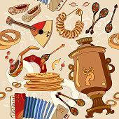 Russian cuisine seamless pattern, pancakes, samovar