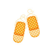 Russian culture, landmarks and symbols. Old traditional wicker bast shoes