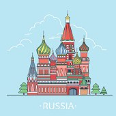 Russian Federation design template. Linear Flat famous historic sight; cartoon style web site vector illustration. World travel and showplaces St. Basil Cathedral in Moscow. Vacation collection.