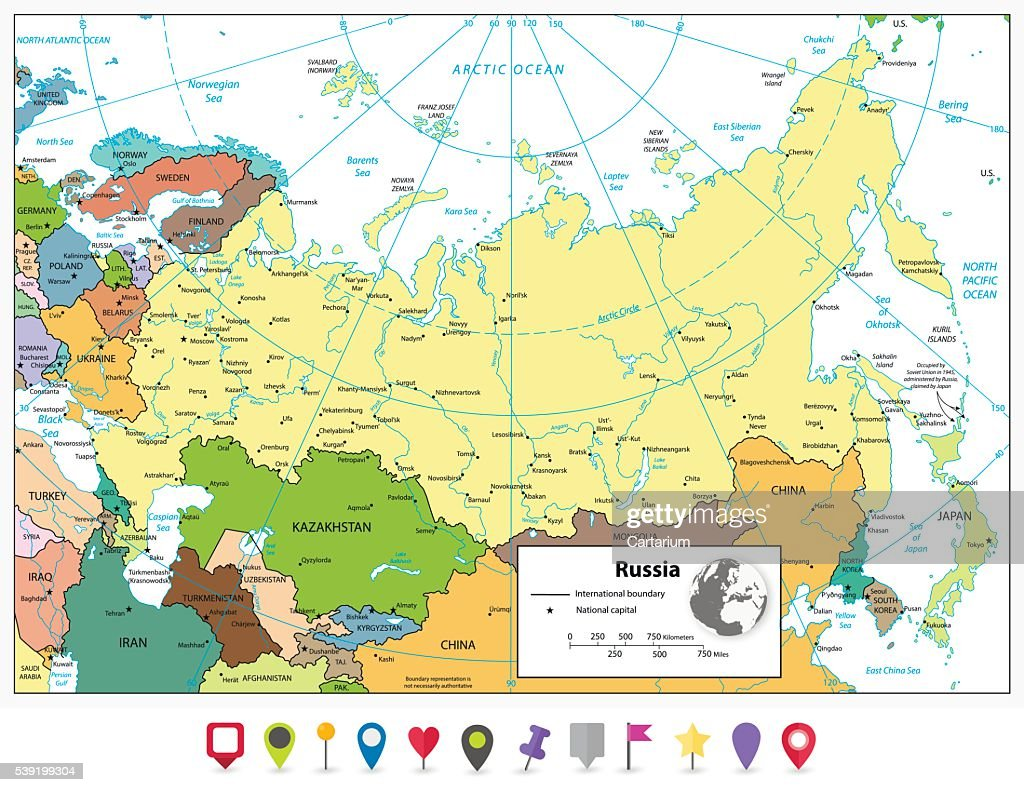Russian Federation Detailed Political Map And Flat Map Pointers ...