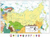 Russian Federation detailed political map and flat map pointers