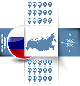 Russian Federation map contour with GPS icons