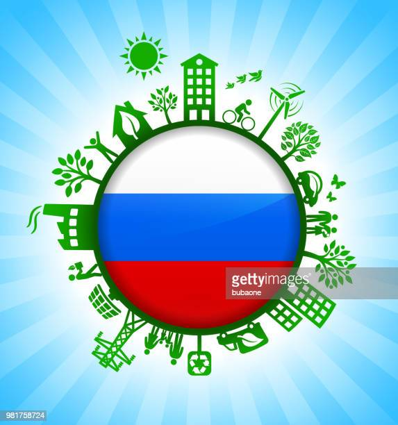 Russian Flag on Environmental Conservation Background