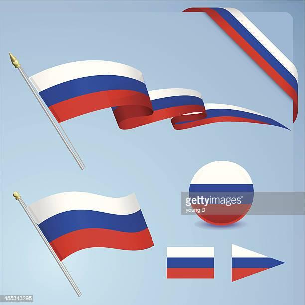russische flagge set - russische flagge stock-grafiken, -clipart, -cartoons und -symbole