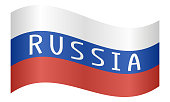 Russian flag with word Russia waving on white