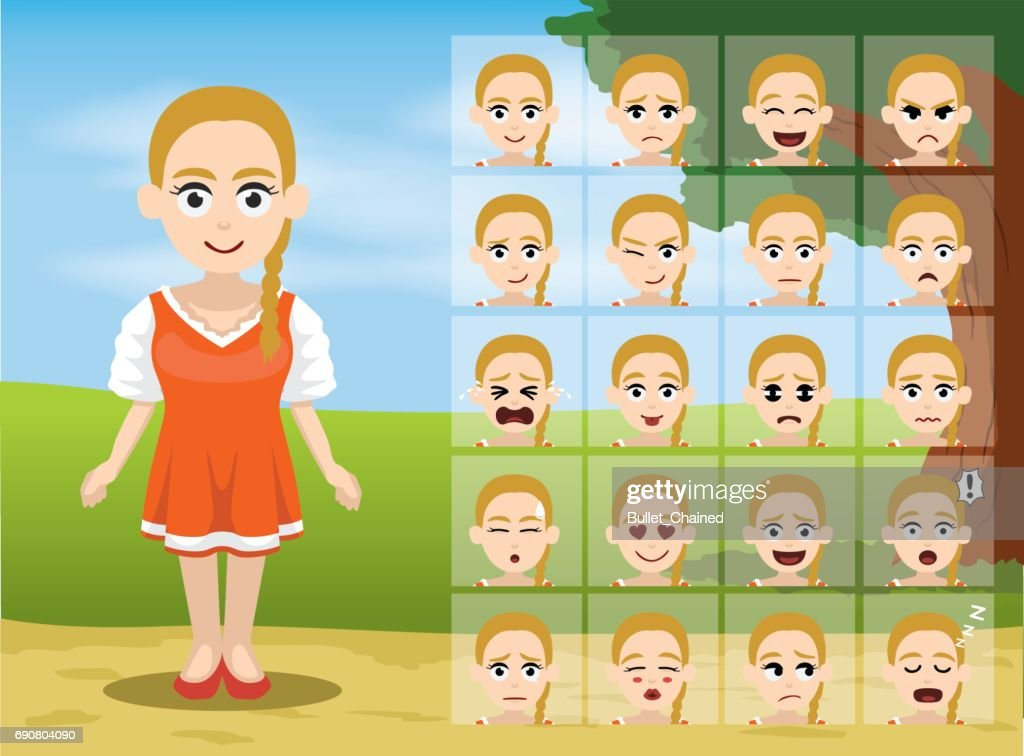 Russian Folk Girl Cartoon Emotion faces Vector Illustration
