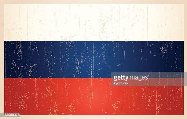 russische grunge vintage-flagge - russische flagge stock-grafiken, -clipart, -cartoons und -symbole