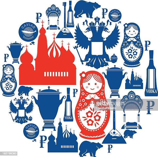 russian icon montage - russian culture stock illustrations