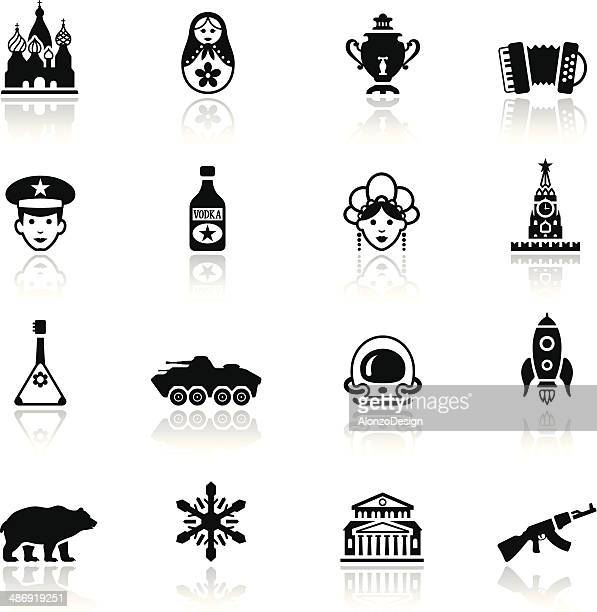 russian icon set - red square stock illustrations, clip art, cartoons, & icons