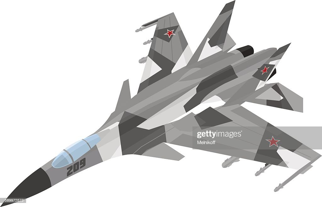 Russian jet fighter aircraft painted in gray with splinter-type spots
