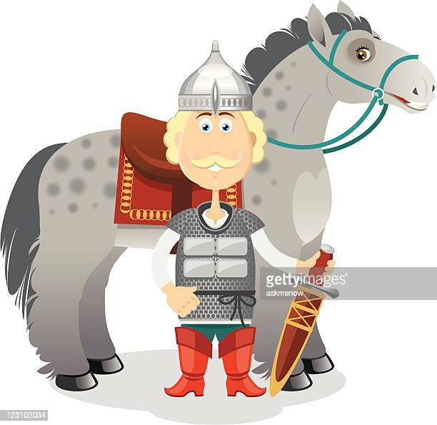 russian medieval heroic warrior with his horse - medieval shoes stock illustrations