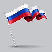 Russian pin wavy flag. Vector illustration.