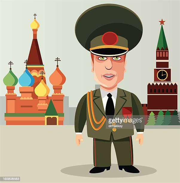 russian soldier in a red square - red square stock illustrations, clip art, cartoons, & icons