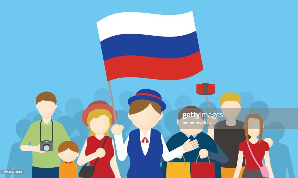 russian tourists and tour guide, Inbound tourism, vector illustration