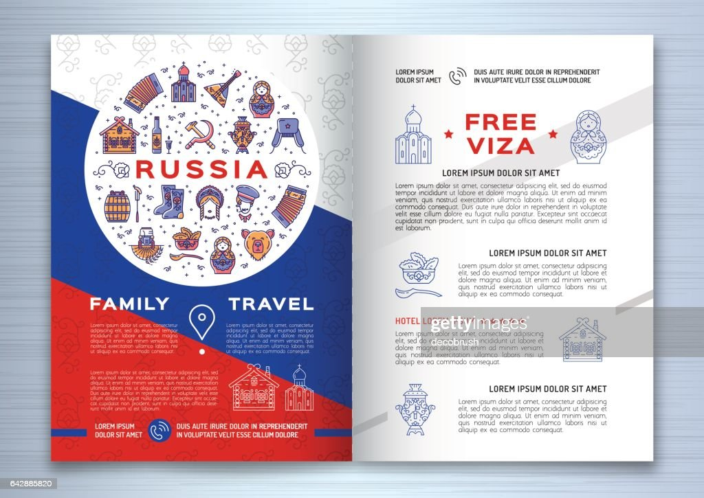 Russian Travel Brochure Template Colorful Russian Icons On A Flag