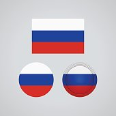 Russian trio flags, vector illustration