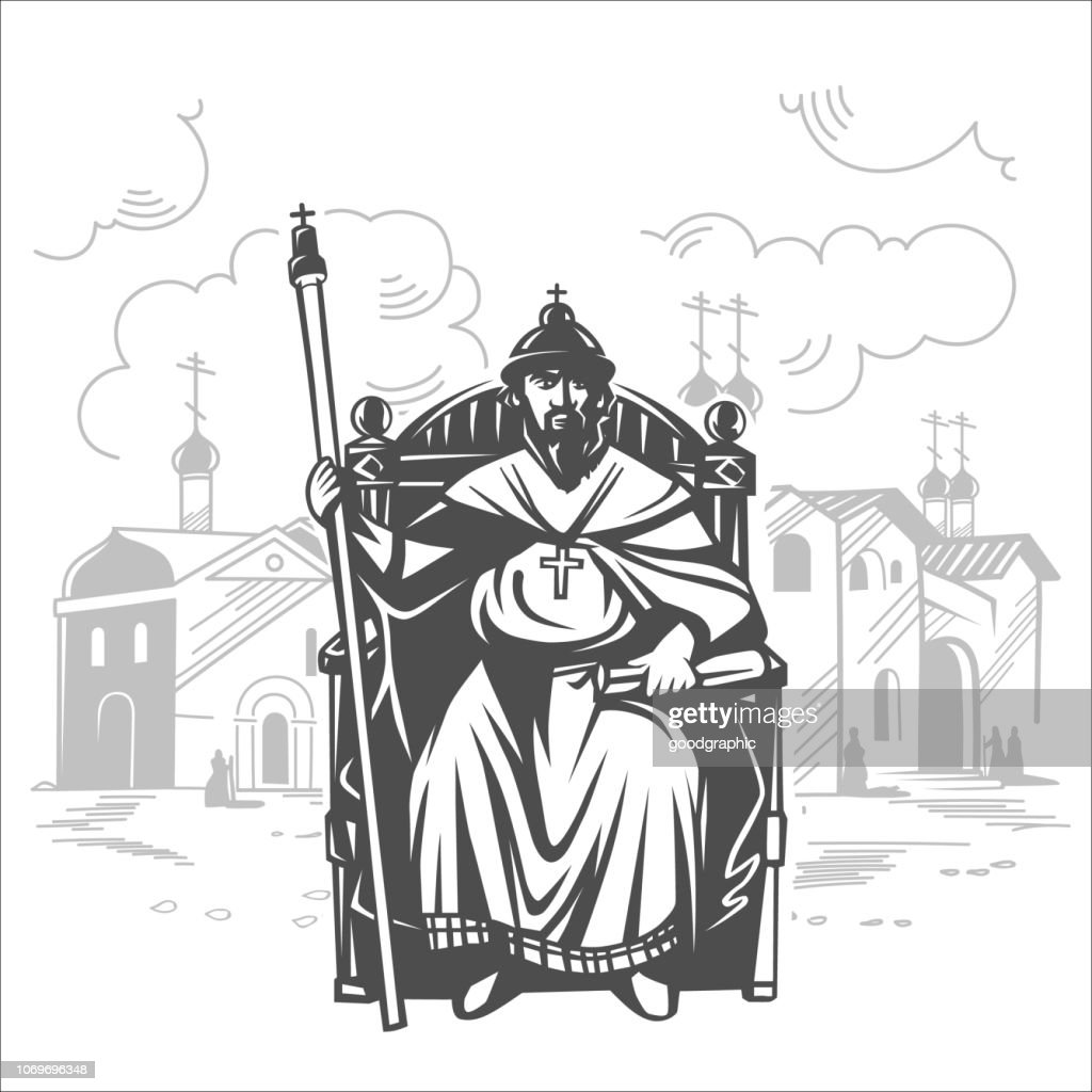Russian tsar on the throne. King.