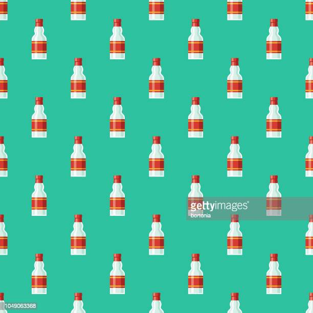 russian vodka seamless pattern - vodka drink stock illustrations, clip art, cartoons, & icons